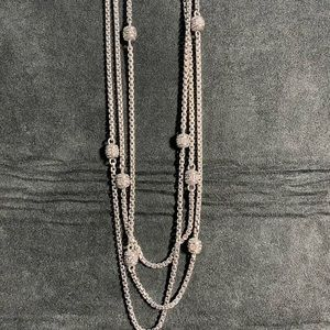 Judith Ripka Sterling Silver CZ 3-Strand Necklace